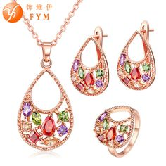 FYM Brand Rose Gold color Hollow Water Drop inlay Colorful zircon Earring/Necklace/Ring Jewelry set for women personality Gift #Affiliate