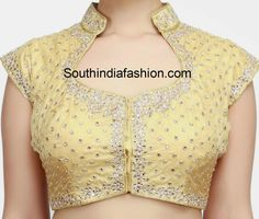 Collar Neck Kundan Work Blouse - All About Saree Jacket Designs, Blouse Designs High Neck, Simple Blouse Designs, Stylish Blouse Design, Fancy Blouse Designs, Designer Blouse Patterns, Blouse Neck Patterns, Kurta Neck Design, Collor