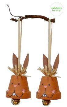 Bastelset Tontopf Hase mit Glocke, 12 Stück