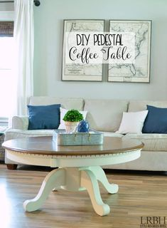 Dining table turned DIY Pedestal Coffee Table with a few DIY tricks. Take a thrift store or Craigslist table and turn it into the piece you need #table #woodworking.