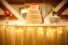 Cake photo by fourseasonsweddingplanning on Weddingbee. I put these lights under my bride's cake tables to add some ambience to the photo of the ca