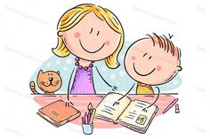 Mother helping her son with the homework Optimistic Kids Art Graphics Illustrations