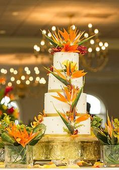 Orange & White Tropical Birds of Paradise Wedding Cake