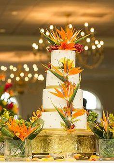 Orange & White Tropical Birds of Paradise Wedding Cake
