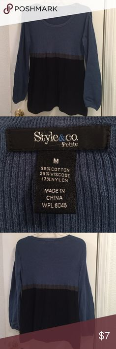 Style & Co. Petite medium sweater Style & Co. Petite medium sweater in black, gray and blue. Some pilling (reflected in low price) but lots of wear left in this cute sweater. Style & Co Sweaters