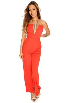 Sexy strapless jumpsuit includes; strapless, V-shape plunge neck, light padded, side pockets, back zipper closure, and fitted. 100% Polyester.