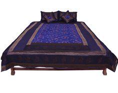 Banarsi Silk Hand block printed jaipuri Double Bed Cover #Chhipaprints