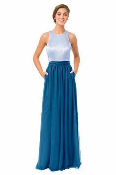 Bari Jay Style 1562 in Cloud/Peacock.  #Bridesmaid #Bridesmaiddress #Bluebridesmaiddress #Longbridesmaiddress #Wedding #Bridesmaiddresses