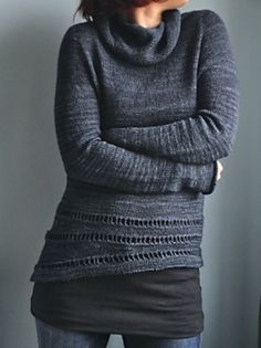Black Wattle is knit top down and seamless with a semi set in sleeve.