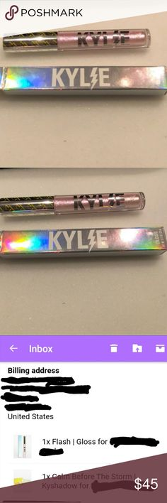 Authentic bnib kylie flash gloss Bnib authentic Kylie cosmetics flash gloss.   This is sold out,  yes I am aware for the original price, if you don't like the price you don't have to buy it. Rude comments will get you blocked immediately,  so please just be respectful! Kylie Cosmetics Makeup Lip Balm & Gloss