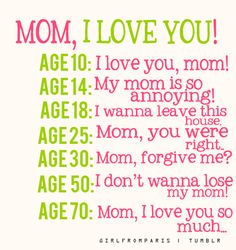 Mom, I love you!  I know we have all read this a millions times but looking at the different stages of aging.  I have to say it is so very true!  I lost my Mom in 1996 and I miss & love her so much now that I am 51~