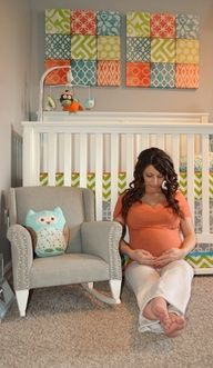 Baby room colors - like the fabric hangings love the color combo