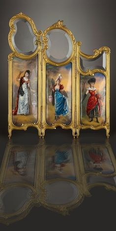 A FRENCH GILT BRONZE AND ENAMEL MINIATURE THREE-PANEL SCREEN Probably Limoges, France, circa 1890-1900