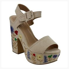 ce6b12cad55bc0 Best-choise Women s Shoes Platform Strap Block High Heel Printed Dress  Sandals for Ladies Open