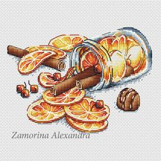 "Cross stitch design ""Jar with cinnamon"" #sa_stitch #sa_pattern #pattern"