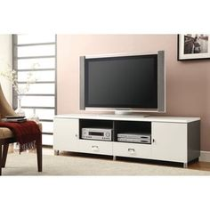 Contemporary White TV Console Living Room Tv, Living Room Furniture, Living Spaces, Table Furniture, Modern Entertainment Center, Entertainment Stand, White Tv Stands, Coaster Fine Furniture, Traditional Cabinets