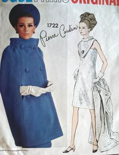 1960s VOGUE PARIS ORIGINAL 1722 PATTERN PIERRE CARDIN COCKTAIL EVENING DRESS, CAPE COAT DRAMATIC DESIGN