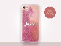 Personalised Glitter Phone Case Clear Case  For iPhone 8 8