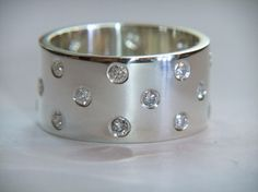 Chunky Diamond Ring Handmade Sterling Silver Band With 11 Diamonds 0.33ct Unique Wedding Rings via Etsy