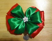 "christmas holiday girls Hair bows about 6"" 100% polyester made in the usa"