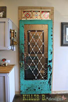 old screen door turned pantry door.....teal-screen-pantry-door