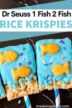 Who doesn't love Dr. Seuss's One Fish Two Fish Red Fish Blue Fish book? We love to celebrate the life and work of Dr. Seuss every year on his birthday (March 2) by making fun Dr. Seuss snacks and reading his books! Try these 1 Fish 2 Fish Snacks that your kids will love (you'll love how EASY they are). Enjoy celebrating Dr. Seuss Day with his books and this simple One Fish Two Fish Rice Krispie Treats recipe that provides a majorly fun wow factor! #drseuss #onefishtwofish #snacks | Made in A… 1 Fish 2 Fish, Red Fish Blue Fish, Fish Snacks, Cute Snacks, Toddler Meals, Kids Meals, Toddler Food, Rice Krispie Treats, Rice Krispies