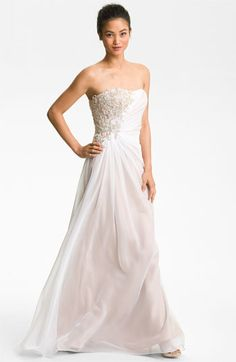 La Femme Embellished Strapless Chiffon Gown