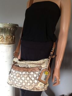 Fossil Messenger Crossbody Bag Purse Canvas Leather Designer Fashion Hip Chic | eBay