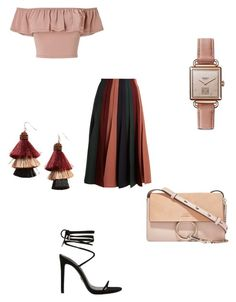 """pleated color blocked skirt"" by bethanyyk on Polyvore featuring Gabriela Hearst, Miss Selfridge, Shinola, Panacea and Chloé"