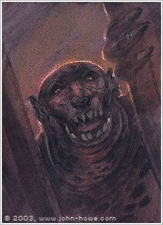 John Howe :: Illustrator Portfolio :: Home / From Hobbiton to Mordor / Cards and Such / Cave Troll John Howe, Myths & Monsters, Tolkien Books, Middle Earth, Fantasy Creatures, Goblin, Lotr, Troll, Mythology