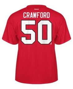 Reebok Men's Corey Crawford Chicago Blackhawks Player T-Shirt - Red