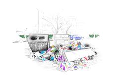 08-01-2018-Cumuli di rifiuti vicino ai cassonetti in una via di Roma-disegno digitale con i pad pro-fonte ANSA