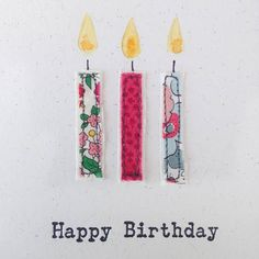 Embroidered Candle Party Time Card by Pins and Needles, the perfect gift for Explore more unique gifts in our curated marketplace. Fabric Postcards, Fabric Cards, Paper Cards, Embroidery Cards, Free Motion Embroidery, Embroidery Fabric, Embroidery Ideas, Christmas Cards Handmade Kids, Handmade Birthday Cards