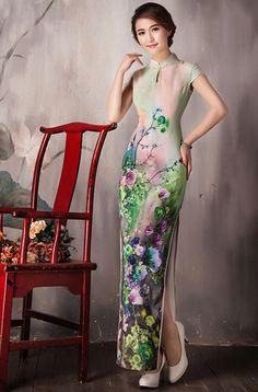 Cap sleeve green cheongsam long traditional Chinese dress floral qipao | Modern Qipao