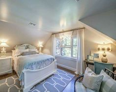"""Shingle Cape Cod Home with Blue Kitchen Ceiling – """"White Gray Paint Color"""" (Distant Gray by Benjamin Moore) Source by Exterior Paint Colors For House, Paint Colors For Home, House Colors, Paint Colours, Grey Bedroom Colors, Gray Bedroom, Trendy Bedroom, Cape Cod Bedroom, Cape Cod Exterior"""