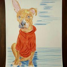 Looking good in his hoodie.... custom pet portraits :)