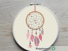 au point de croix motif dreamcatcher moderne cross par Happinesst