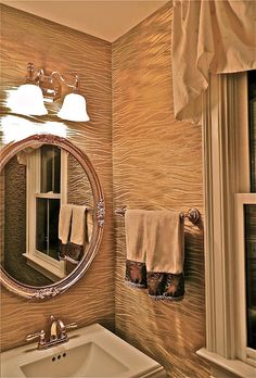 Updated home photos. South Shore Decorating Blog: Our Home Through the Years City Bathrooms, Large Bathrooms, Small Bathroom, Zebra Print Wallpaper, Gold Metallic Wallpaper, Room Wallpaper, Bathroom Photos, Bathroom Ideas, South Shore Decorating