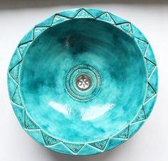 Moroccan turquoise sink turquoise bowl bathroom door clayopera, $260.00