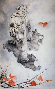 White tiger by IrenaDem. on White tiger by IrenaDem. Tiger Drawing, Tiger Painting, Big Cats Art, Cat Art, Animal Drawings, Art Drawings, Drawing Art, Animals And Pets, Cute Animals