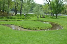 Yarimizu is a Japanese garden element an oxbow in a stream