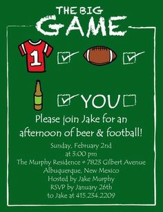 The Big Game - Studio Basics: Party Invitations - Tiny Prints Studio Basics in Shamrock Green. #football #superbowlparty