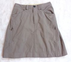 Womens Mountain Hardwear La Strada Skirt 2 Tan Camp Hike Stretch Nylon Cinch #MountainHardwear #ALine