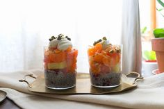 Mandarin Chia Pudding Parfaits | These are our new breakfast favorite! Tasty spoonfuls of chia pudding (made with chia seeds and coconut milk sweetened with agave and pomegranate arils) are topped with fresh pineapple, mandarin oranges, grapefruit and toasted coconut, and a dollop of crème fraîche (you could also use plain yogurt).