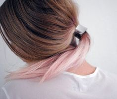 Shop for cheap Brown to pink ombre hair with a low pony tail