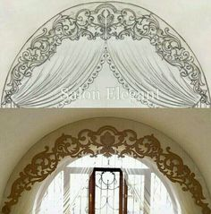 Curtains For Arched Windows, Window Curtains, Curtain Styles, Curtain Designs, Window Dressings, Rococo, Drapery, Window Treatments, Sweet Home