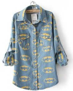 Blusa Jeans com Estampa do Batman