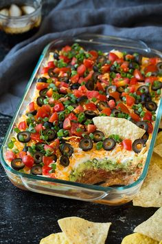 The ultimate party food – 7 Layer Bean Dip! My family has long loved 7 layer bean dip. We all sit down and eat a very generous serving whenever it's around, as in there's rarely