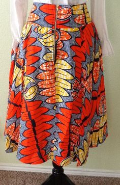 African print pleated skirt by TasheroDesigns on Etsy
