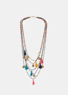 Waterfall bead necklace -  Women | MANGO USA